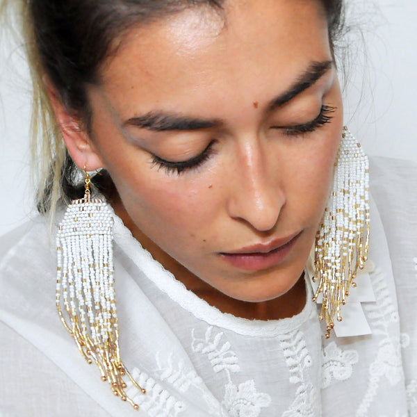 Nakamol White Gold Fringe Earrings