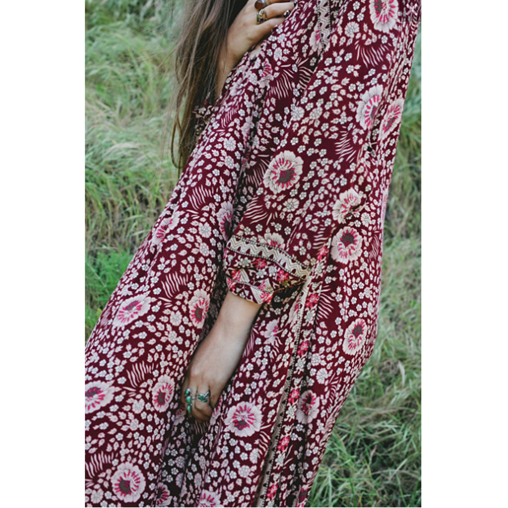 Natalie Martin Fiore Maxi Dress in Burgundy