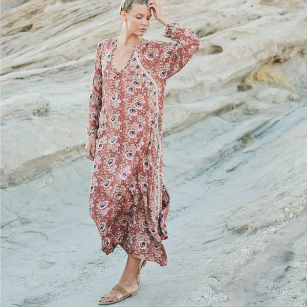 Natalie Martin Fiore Maxi Dress in Cocoa Vintage Flowers