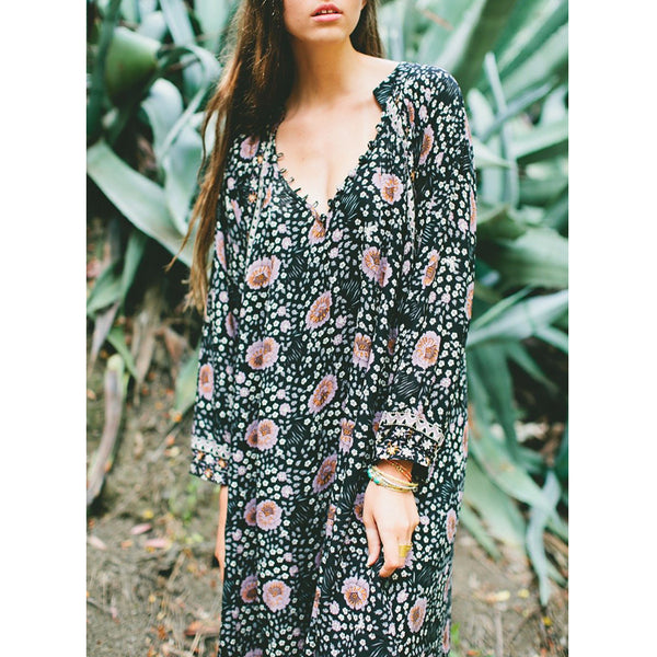 Natalie Martin Fiore Maxi Dress in Black Vintage Flowers