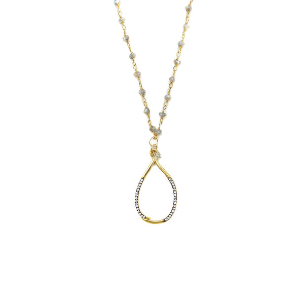Pavé Teardrop Pendant Necklace
