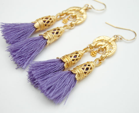 Gold Double Tassel Earrings In Purple