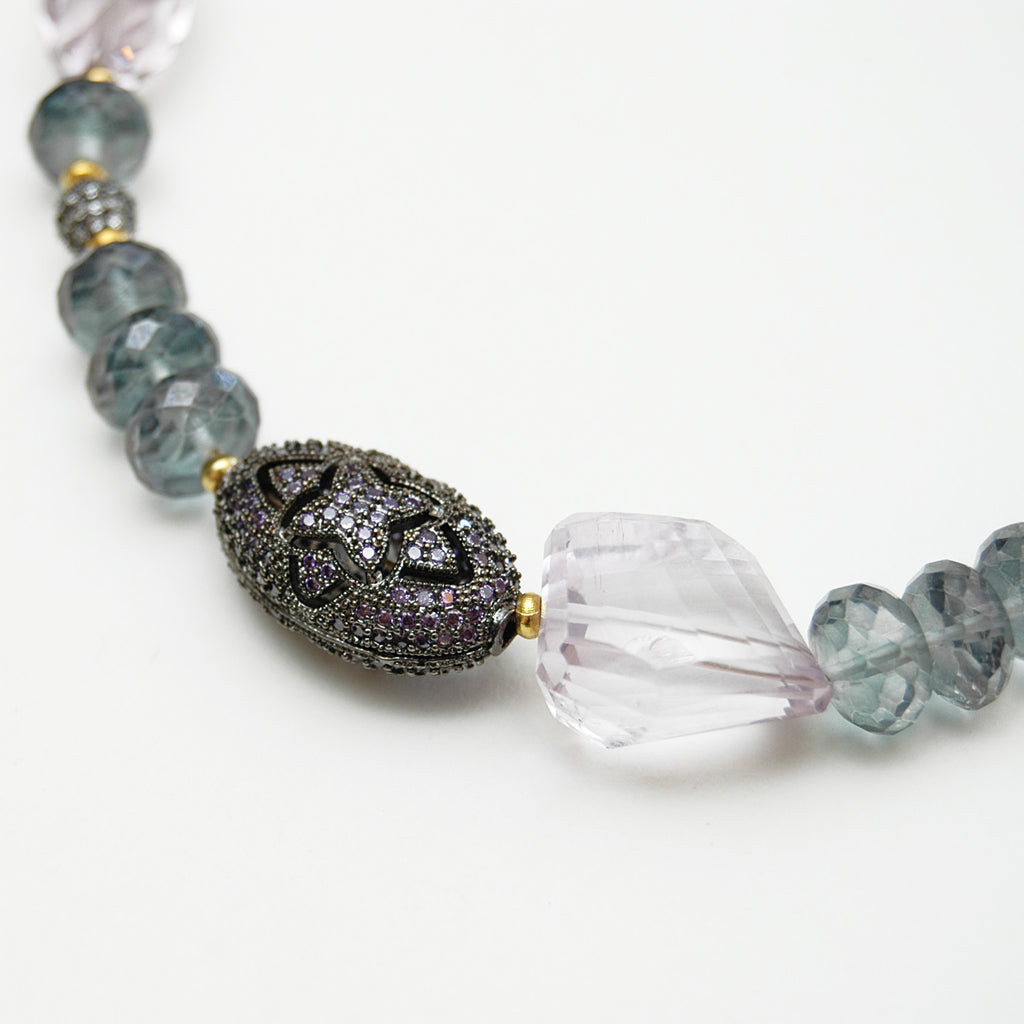 Fluorite Bead Choker Necklace With Purple Tassel