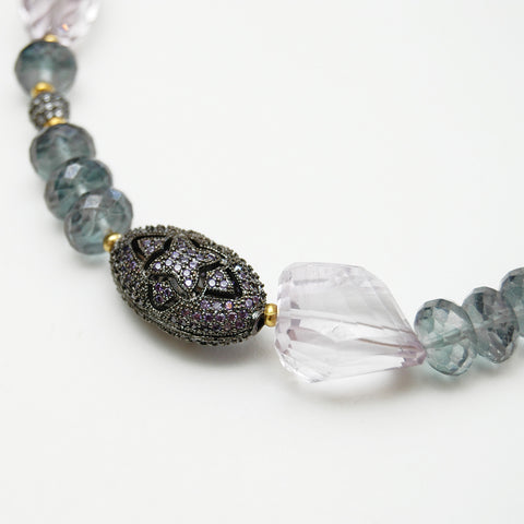 Fluorite Bead Necklace With Purple Tassel