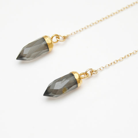 Smokey Quartz Thread Drop Earrings