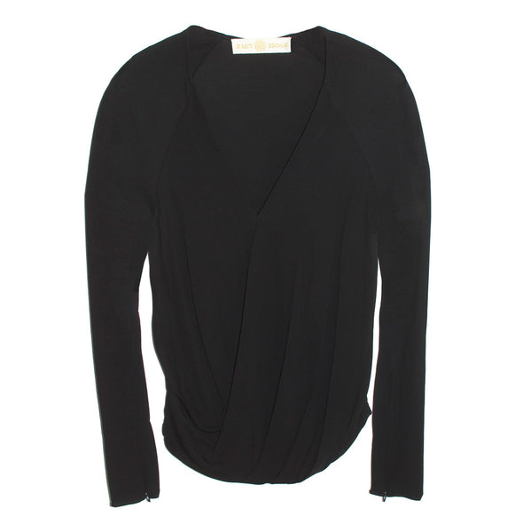 Ramy Brook Molly Drape Front Top in Black