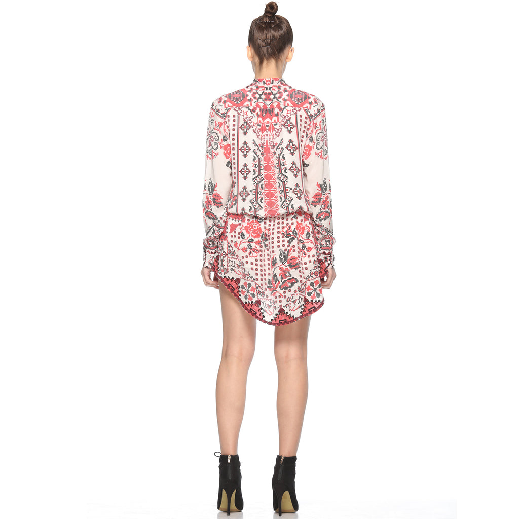 Rococo Sand Bedeck Dress in White Print