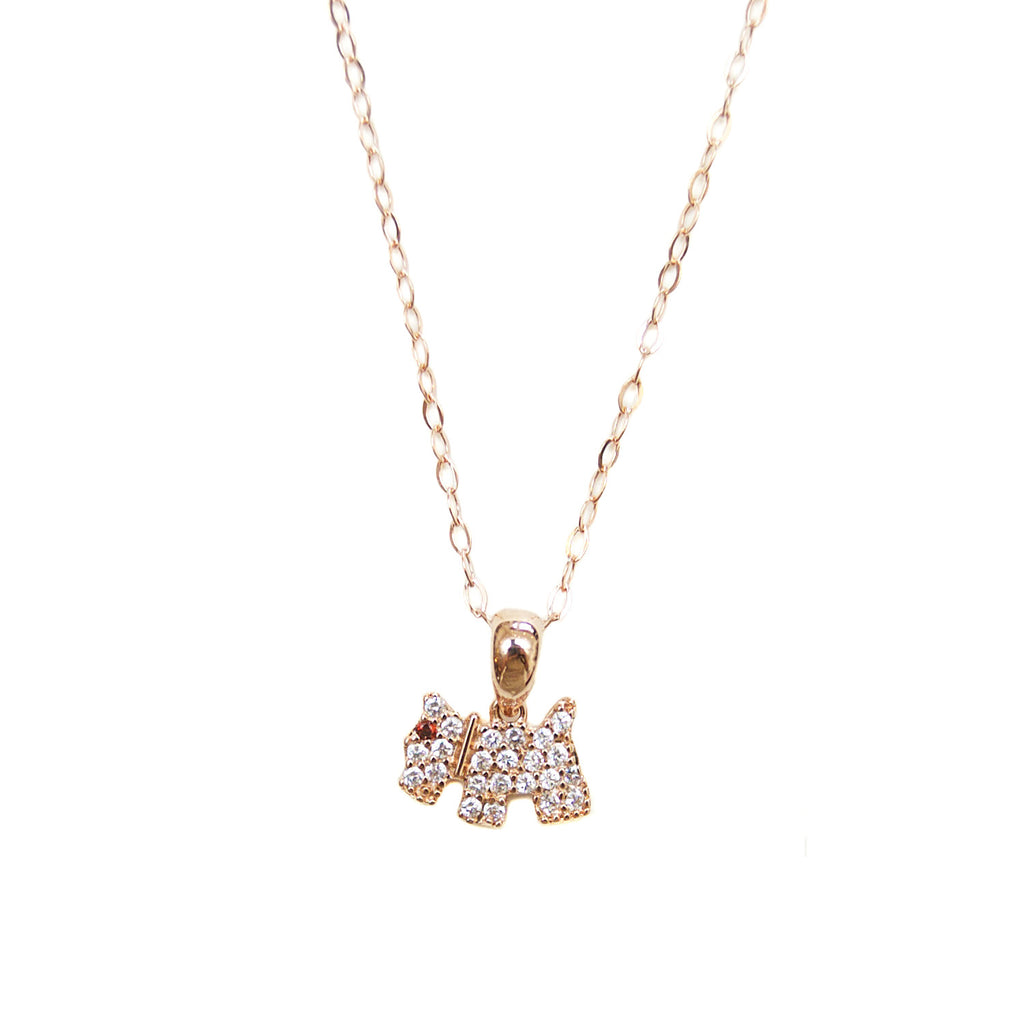 Rose Gold Pavé Terrier Necklace