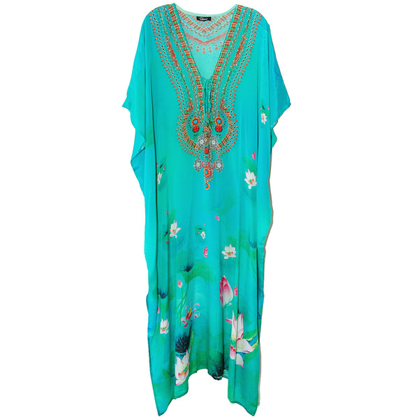 Shahida Parides Blue Lotus Lace Up Kaftan