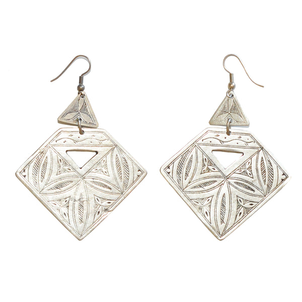 Seymour Silver Etched Triangular Earrings
