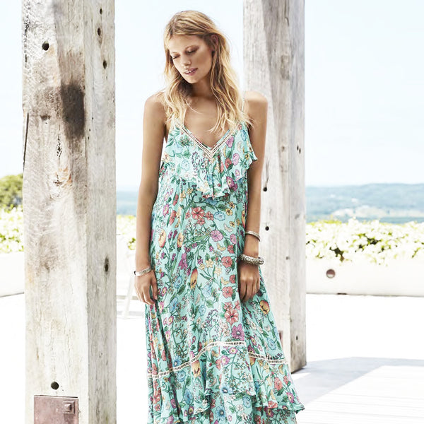 Spell & The Gypsy Collective Sayulita Frill Maxi Dress in Birthstone