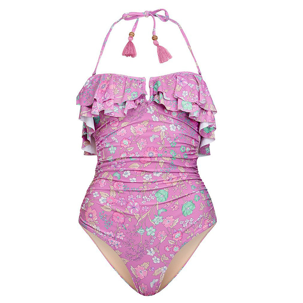 Spell & The Gypsy Collective Cloud Dancer Flowerchild Frill One Piece in Fuschia