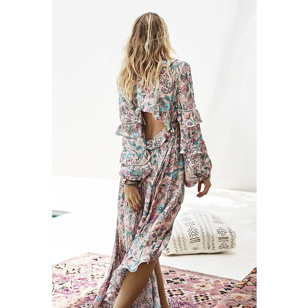 Spell & The Gypsy Collective Sayulita Frill Gown in Musk