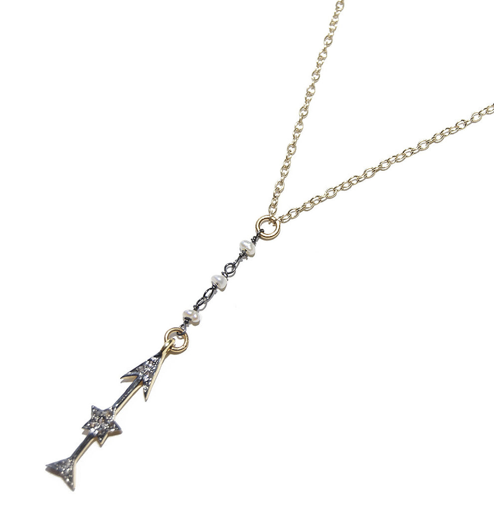 Gemelli Pave Diamond Arrow Necklace