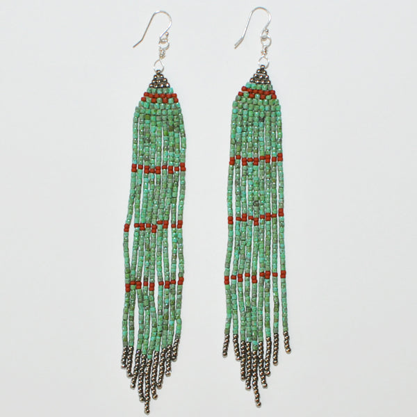 Sunce Bidjan Long Turquoise Fringe Earrings