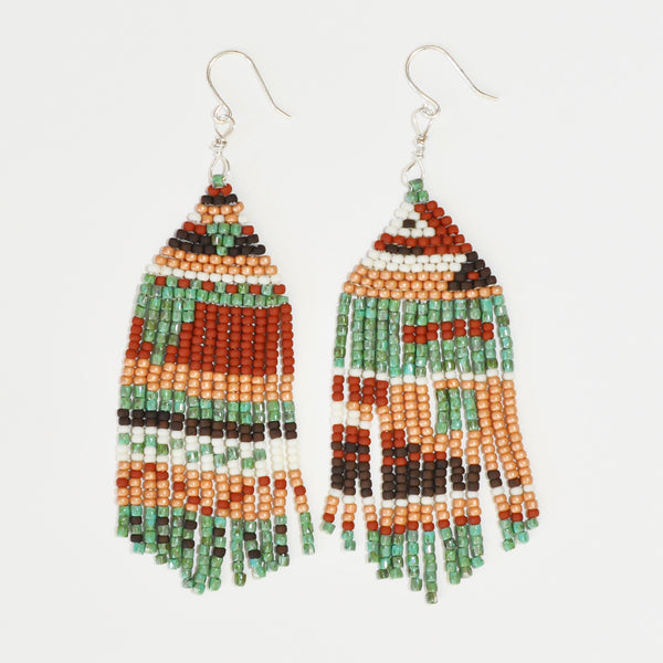 Sunce Bidjan Turquoise Rust Fringe Earrings