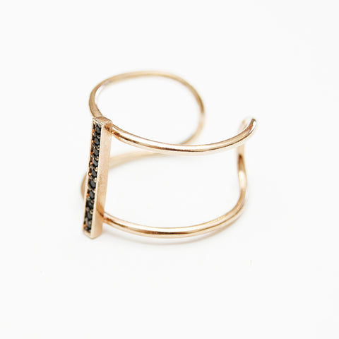 Tai Rose Gold & Black CZ Pavé Ring