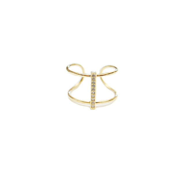 Tai Gold Pavé Bar Ring