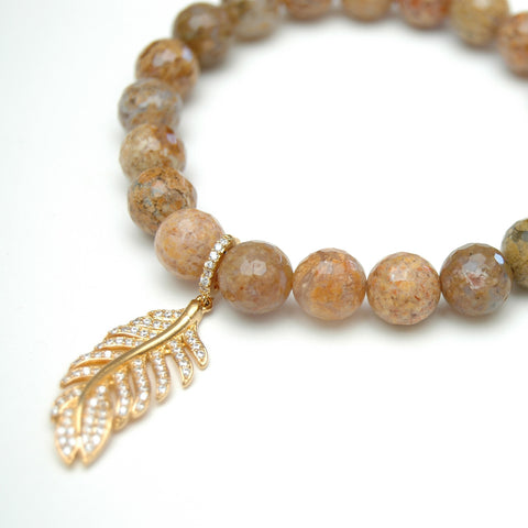 Tai Nutmeg Agate Bead Bracelet With Feather
