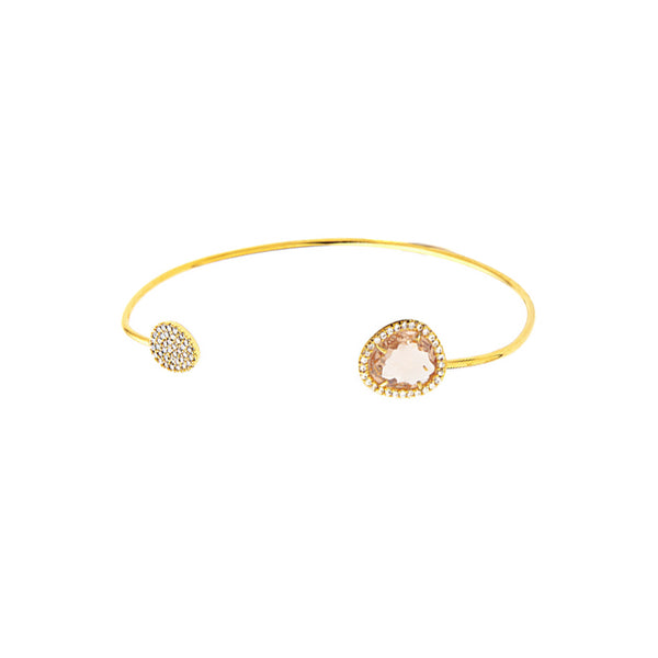 Tai Peach Crystal Open Bracelet