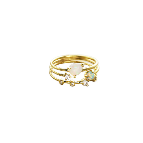 Tai Triple Ring Set in Opal
