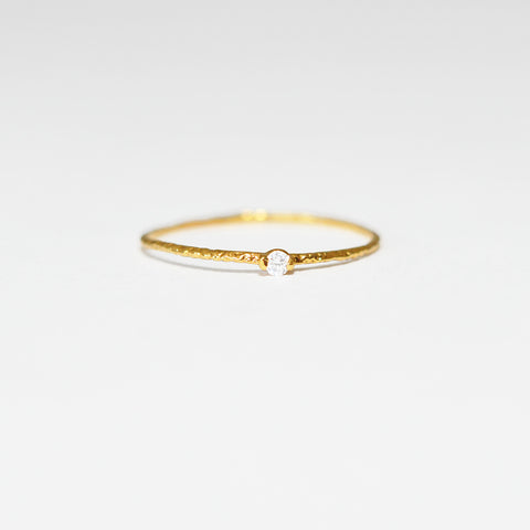 Seymour Tiny Gold Stacking Ring in Clear