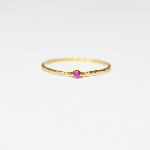 Tiny Dot Gold Stacking Ring in Pink