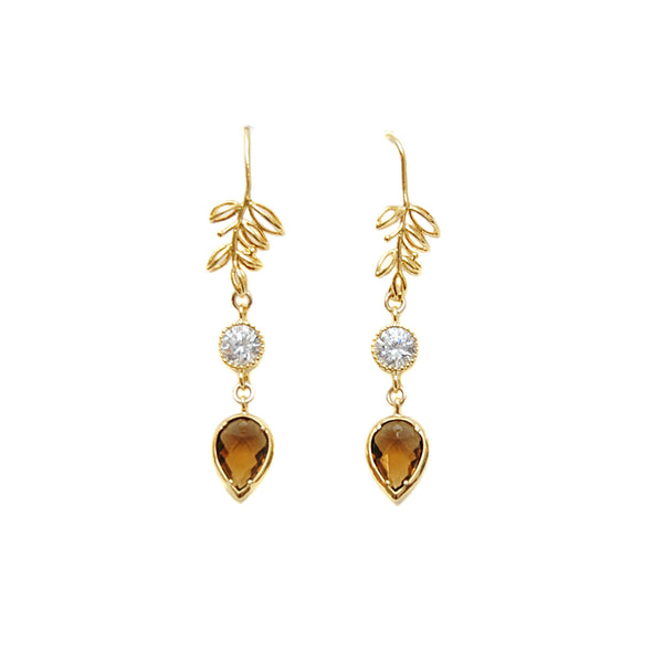 Les Pommettes Tobacco Teardrop Leaf Earrings