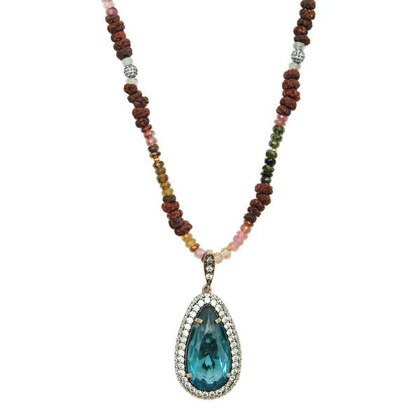 Tourmaline Blue Pendant Necklace