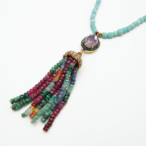 Tourmaline Tassel Pendant Necklace