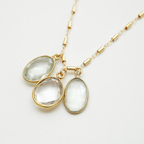 Triple Stone Charm Necklace