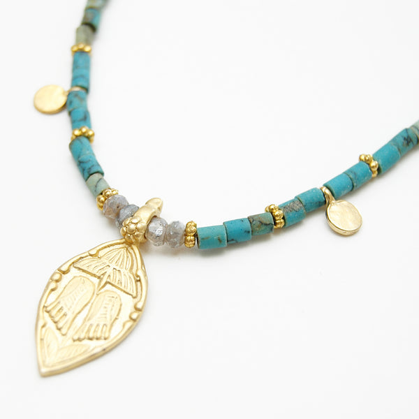 Turquoise Afghan Stone Bead Necklace