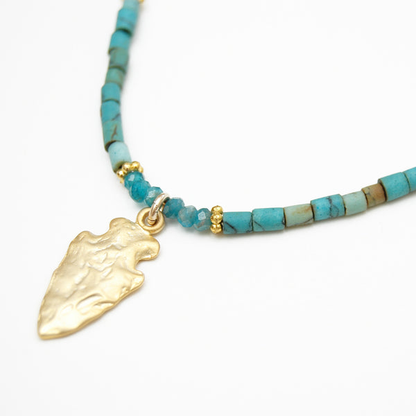 Gold Arrowhead Stone Necklace