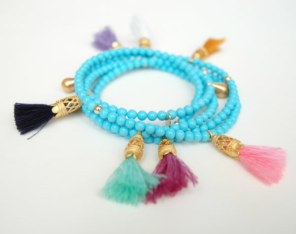 Turquoise Bead Multi Color Tassel Necklace