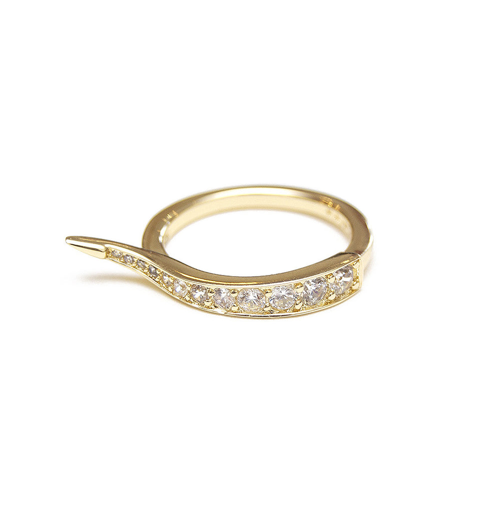 Melanie Auld Pave Elongated Stacking Ring in Gold