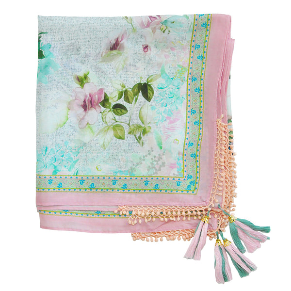 Vismaya Silk Square Scarf in Rose