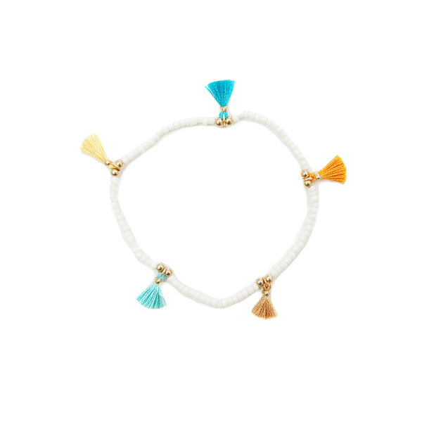 White Mini Tassel Bracelet