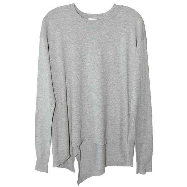 Wilt Split Back Slouchy Sweater in Heather Grey