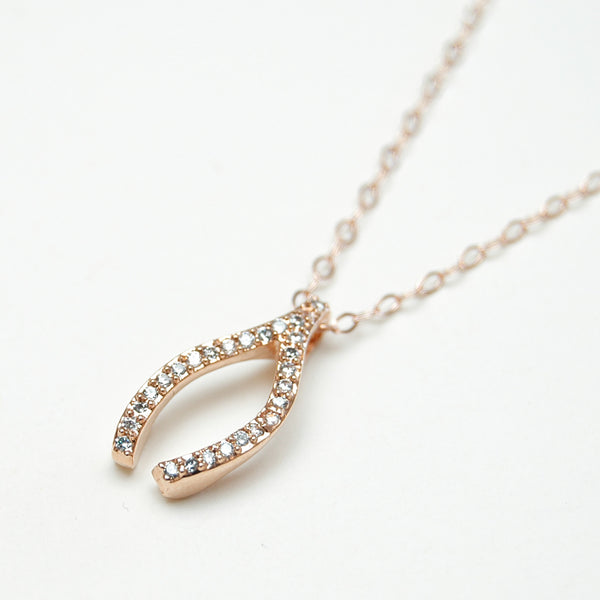 Rose Gold Wishbone Necklace