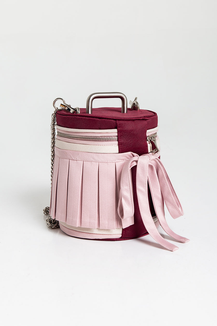 Mini Stool Bucket Bag in Red/ Pink