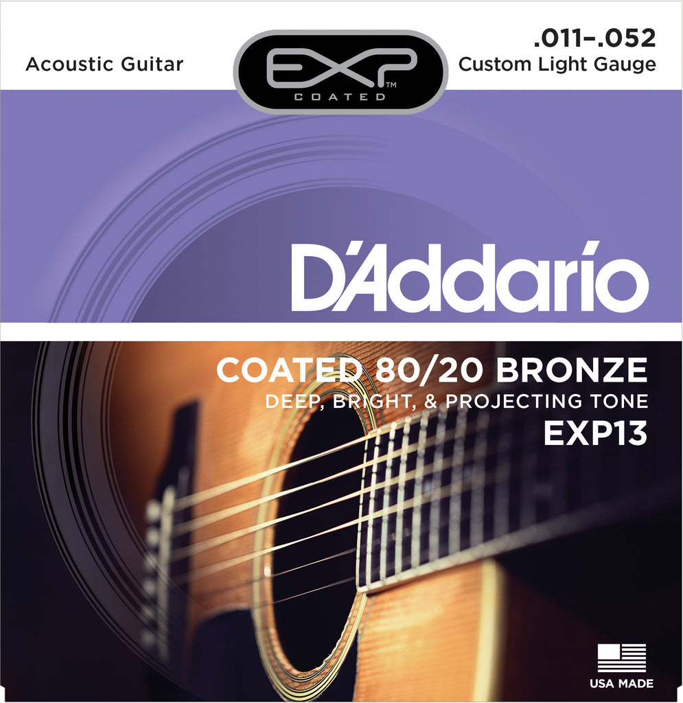 D'Addario EXP13 6-String Coated 80/20 Bronze Custom Light Acoustic Strings