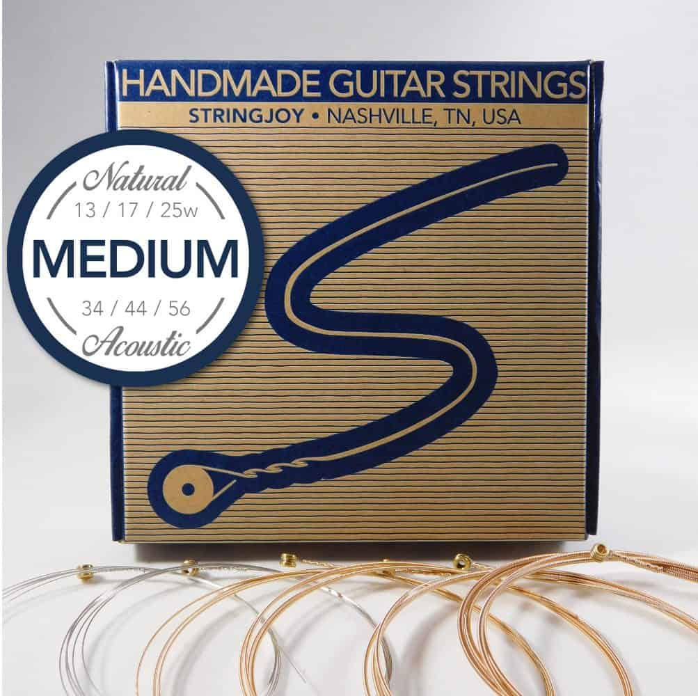 Stringjoy Medium (13-56) Natural Bronze Acoustic Guitar Strings SJ-NB1356