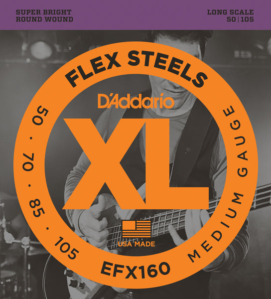 D'Addario EFX160 Medium Flex Steels Bass Strings