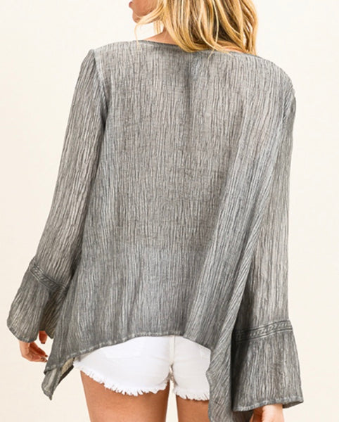 Gray acid washed boho peasant top