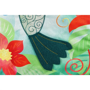 Hummingbird Quilled Look Garden Linen Flag