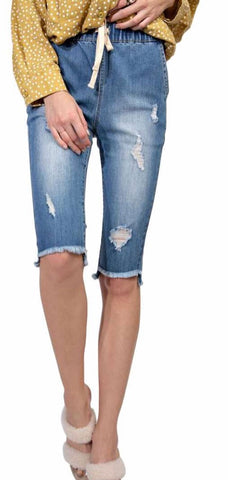 Denim drawstring distressed Capri