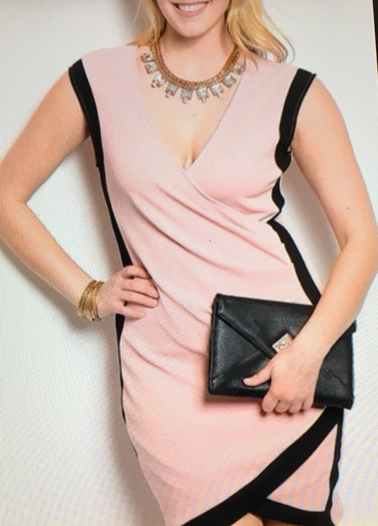 Blush black sleeveless roched dress