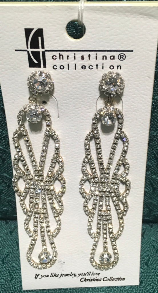 Rhinestone dangling ornate long earring