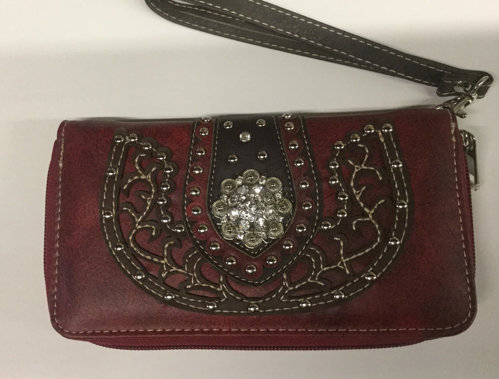 Red leather Western wristlet wallet