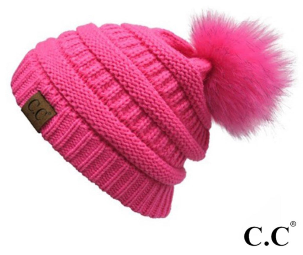 New Candy pink CC beanie with  pom